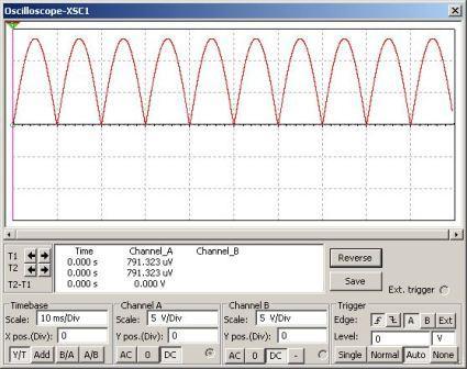 Full wave bridge rectifier circuit [Multisim Simulation