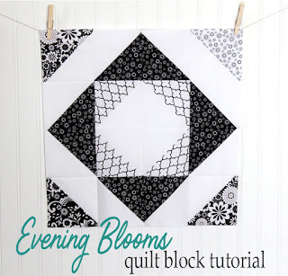 Evening Blooms block tutorial by Andy Knowlton of A Bright Corner - she shares a great trick for making a ton of HSTs at a time!