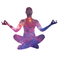 An image of silhouette of a person in the lotus position, but with images of stars and nebulae filling the silhouette.