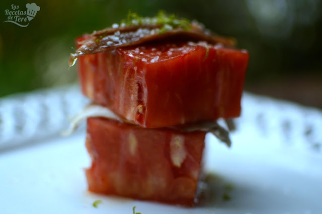 Ensalada de tomate rosa de Barbastro anchoas y boquerones tererecetas 01
