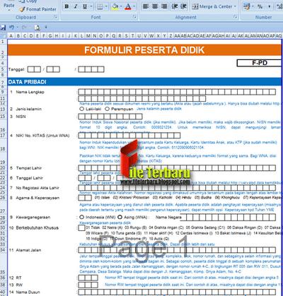 Formulir Peserta Didik Dapodik 2018 Format Excel