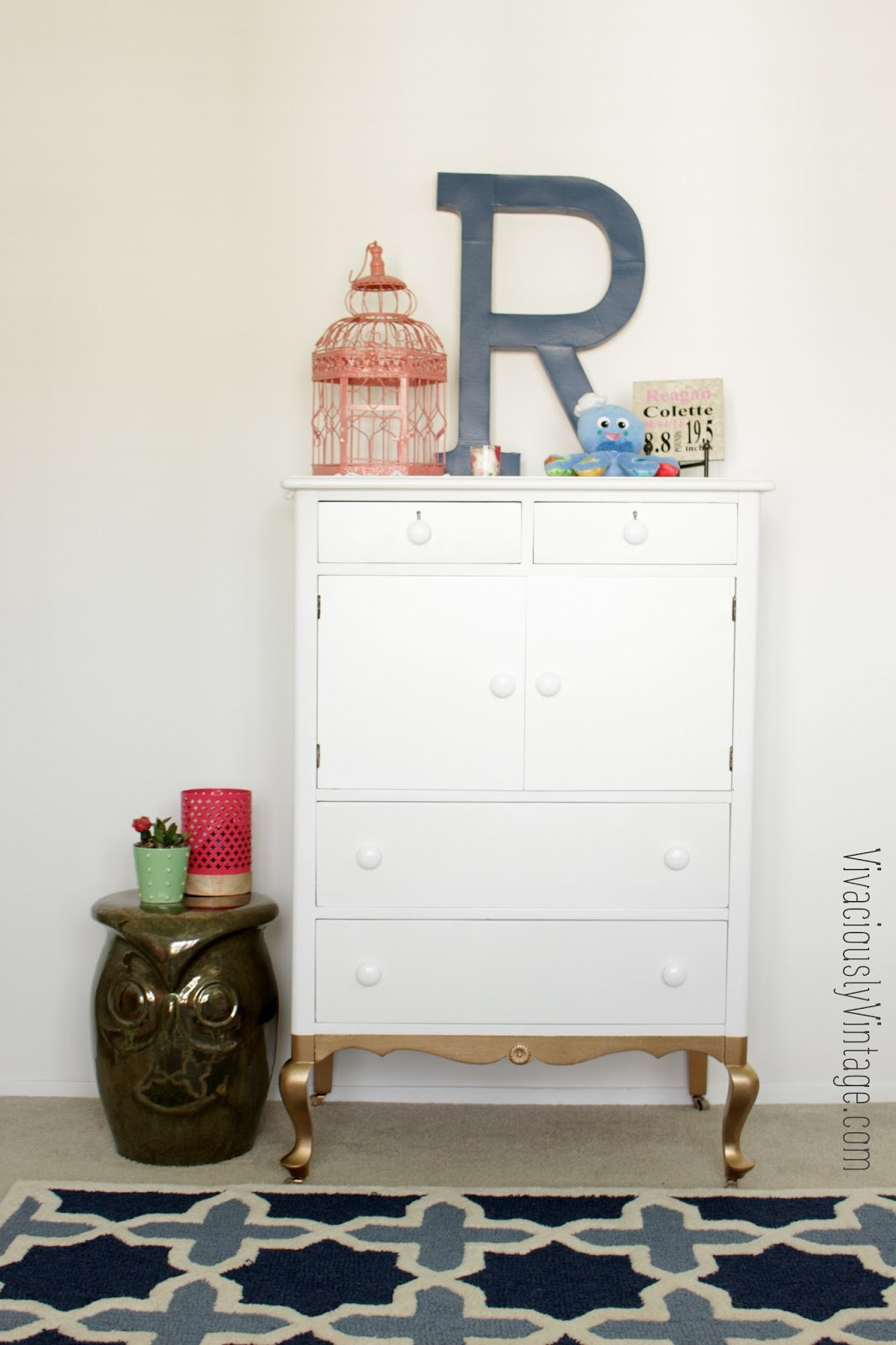 gold dipped white tall antique dresser cabinet