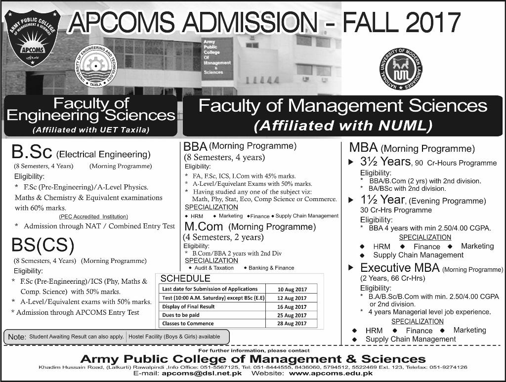 Admission Open in Army Public College of Management and Science Rawalpindi Fall 2017