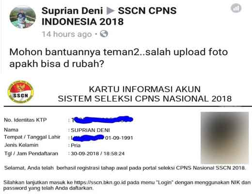salah upload foto profil pendaftaran cpns 2018 sscn bkn