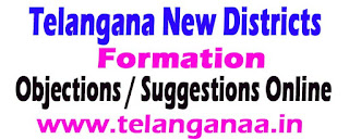 Telangana New Districts Formation Objections / Suggestions Online