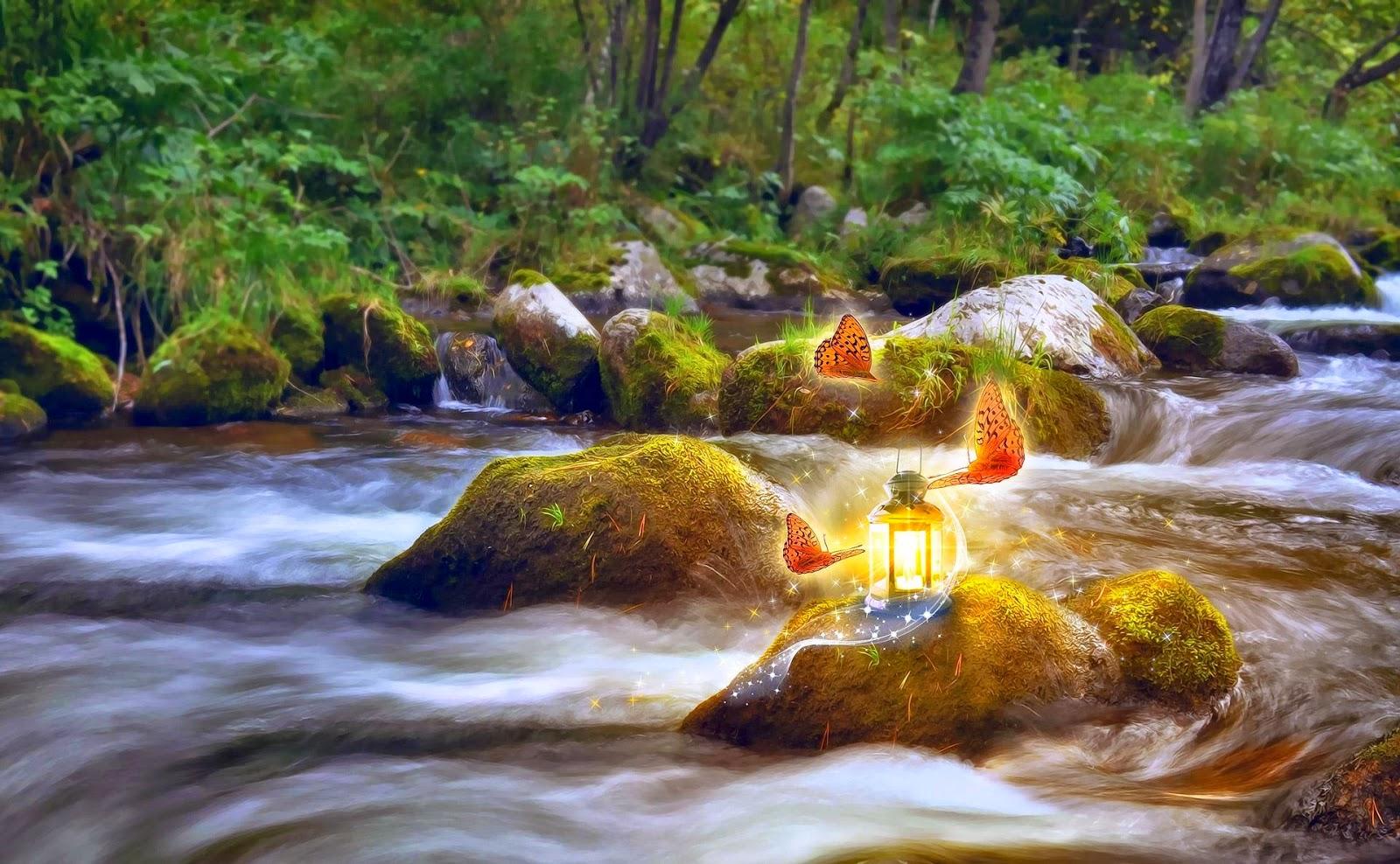 Fantasie achtergrond met lamp en vlinders