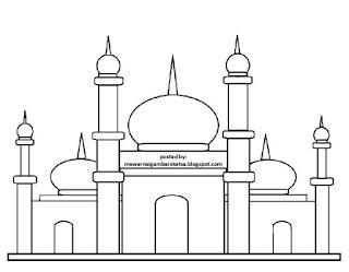Gambar Sketsa Mewarnai Masjid Terbaru 201716