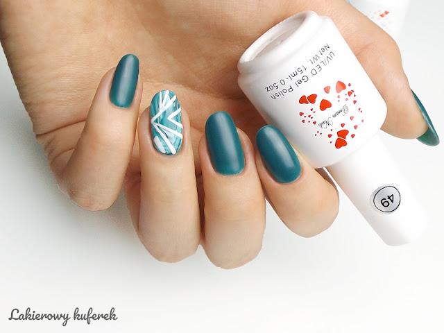 hybrydy Dream Nails Warszawa, stone manicure, zdobienie paznokci, zielone paznokcie, morska zielen na paznokciach,