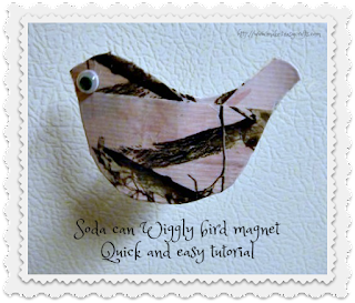 Recycled Wiggly bird magnet