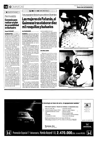 Las mujeres de Fañanás, al Guinness tras elaborar diez mil rosquillas y buñuelos