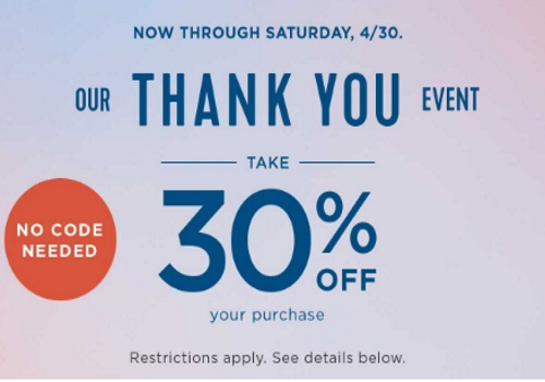 Old Navy Thank You Event 30% Off + 40% Off One Item Promo Code