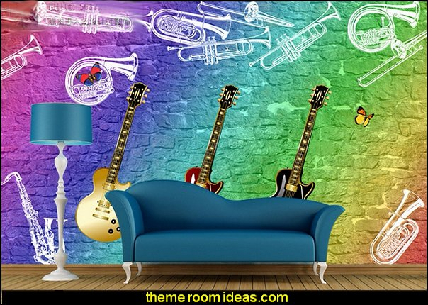 3D Guitar Music Wall Mural Music bedroom decorating ideas - rock star bedrooms - music theme bedrooms - music theme decor - music themed decorations - bedding with musical notes