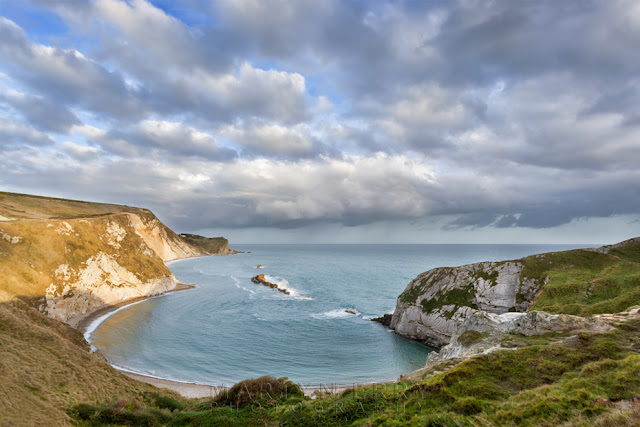 Evening light on the cliffs overlooking Man O War Bay in Dorset