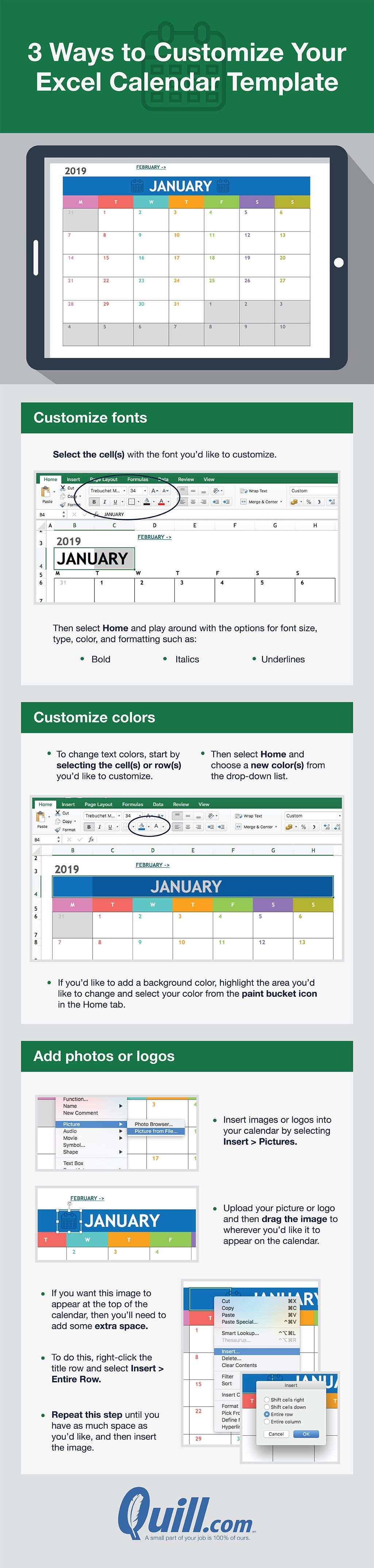 How to make a calendar in excel #infographic