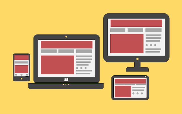 inlustração: smartphone, notebook, desktop e tablet, site se adapta a todos os tamanhos de tela