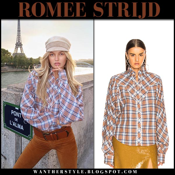 Romee Strijd in brown checked shirt johanna ortiz model fall fashion september 28