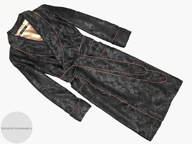 mens black paisley silk dressing gown lightweight robe long