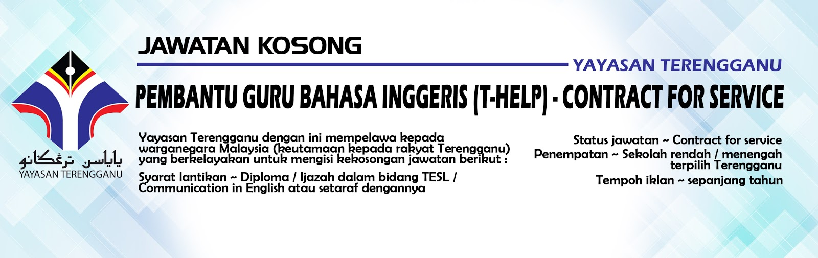 Jawatan Kosong Yayasan Terengganu Terbuka Sepanjang Tahun Jawatan Kosong Kerajaan 2020 Terkini