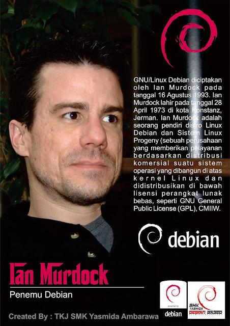 Design Poster Penemu Debian (Ian Murdock) Jurusan TKJ