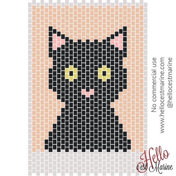Un chat à tisser en perles Miyuki Delicas 11/0 par Hello c'est Marine