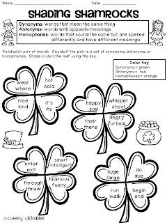 Everything Education : St. Patricks Synonym, Antonym