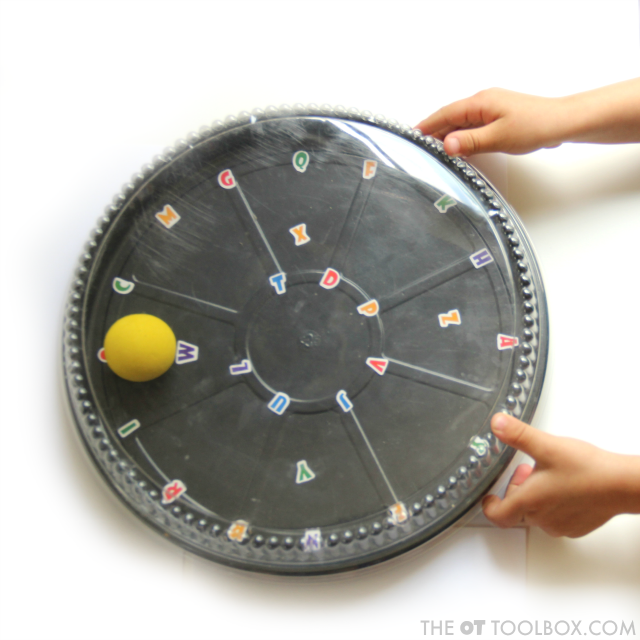 Kids can use this eye-hand coordination activity to work on fine motor skills, visual motor skills, bilateral coordination and other areas in occupational therapy to work on tasks like handwriting, reading, writing, and so many other areas.