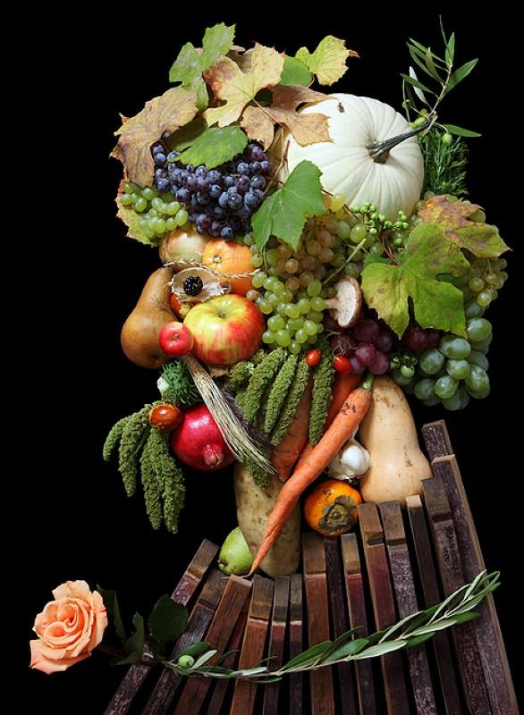 Портреты из фруктов и цветов 10