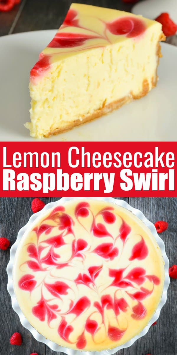 Tall Creamy Cheesecake with Raspberry Swirl is delicious dessert recipe! A favorite tall lemon cheesecake with a gorgeous raspberry swirl makes it a favorite for Easter, 4th of July or Christmas from Serena Bakes Simply From Scratch.