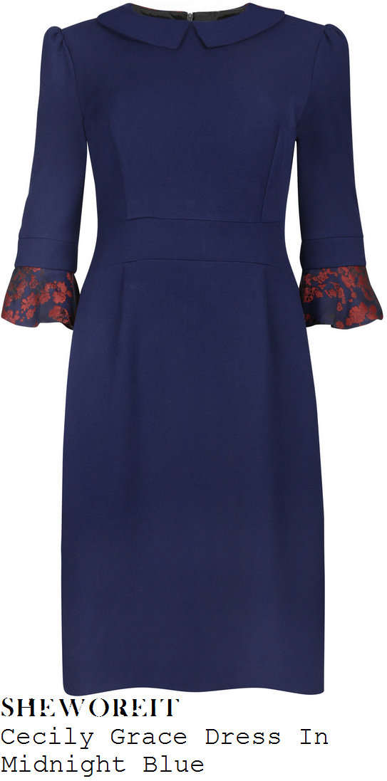 holly-willoughby-navy-blue-red-floral-frill-cuff-three-quarter-sleeve-cecily-pencil-dress-this-morning