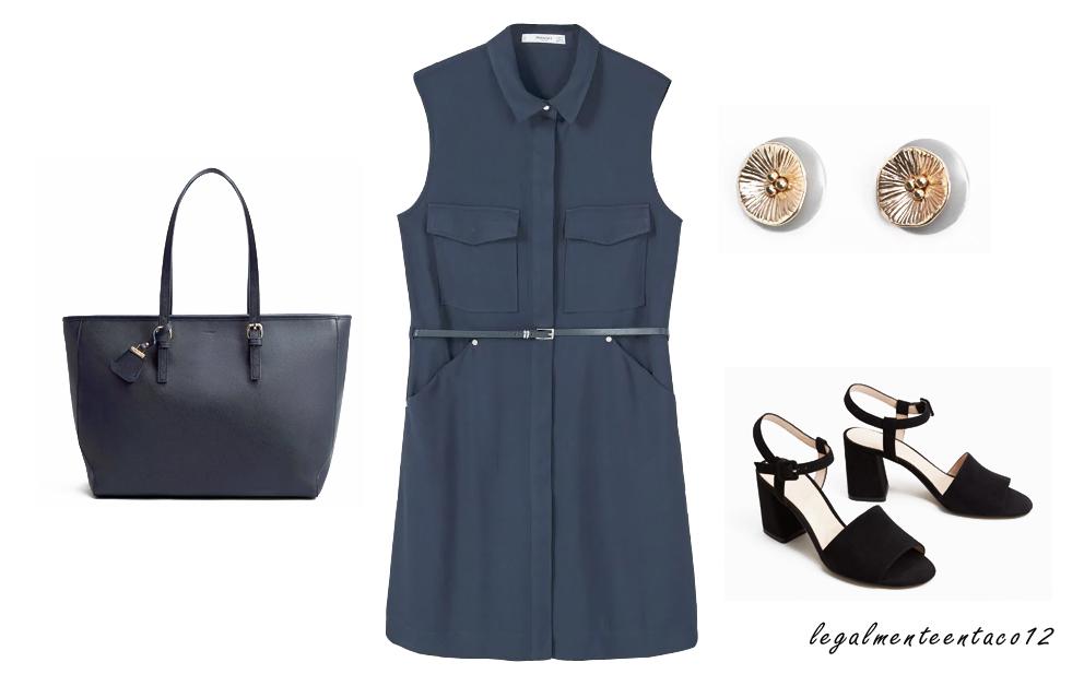 Vestido azul para la oficina