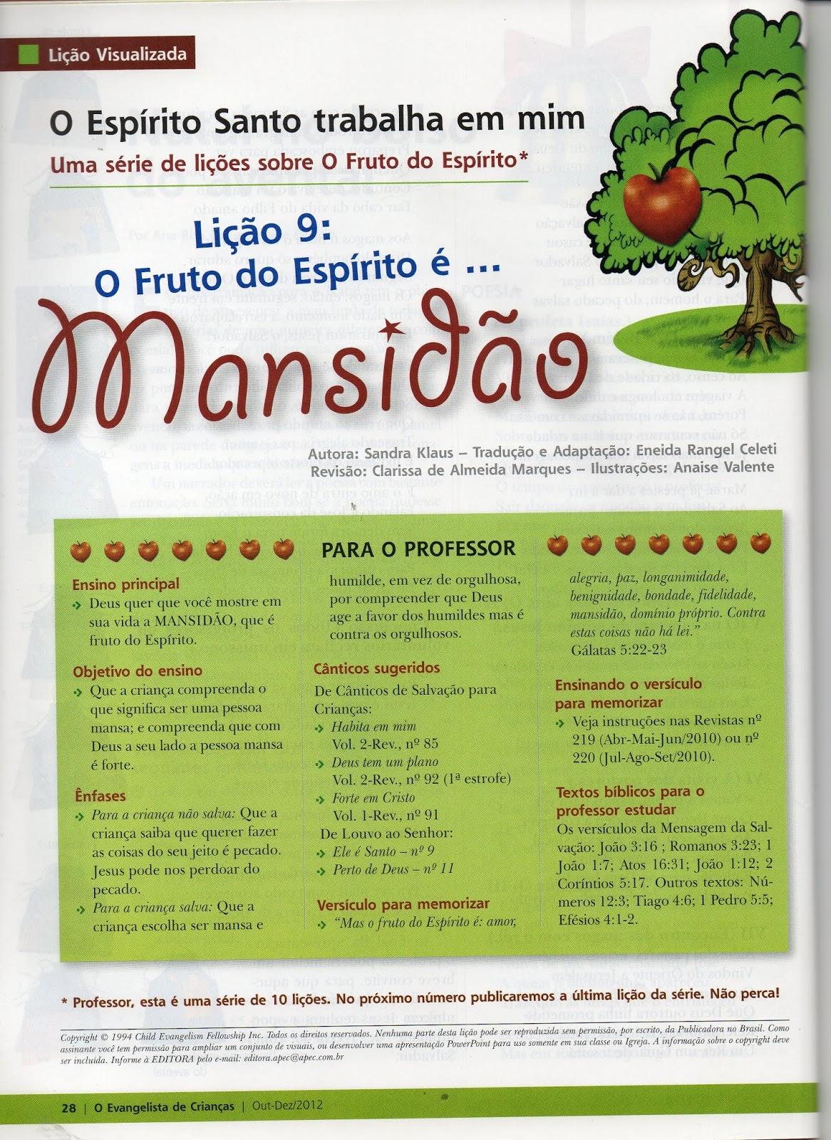 Extremamente Pequeninos de Jesus: Fruto do Espírito: Mansidão. HI63