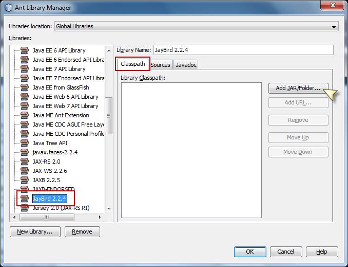Agregar JDBC Driver de Firebird en NetBeans - Clic en Add JAR/Folder
