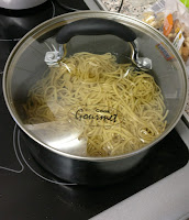 Pan full of cooked noodles