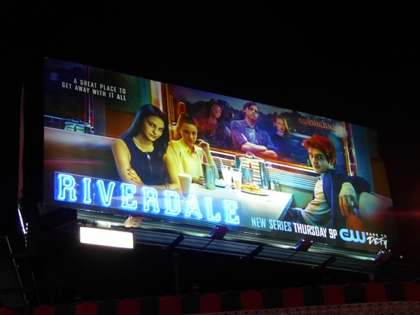 special Riverdale Neon sign billboard at night