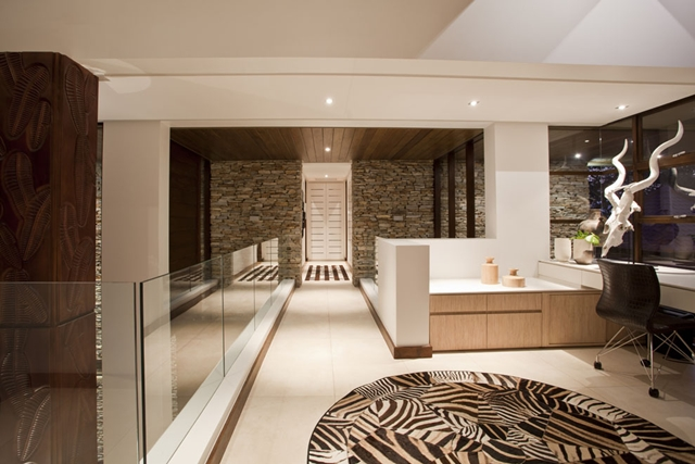 Hallway into the home office on the first floor of Contemporary South African SGNW House by Metropole Architects
