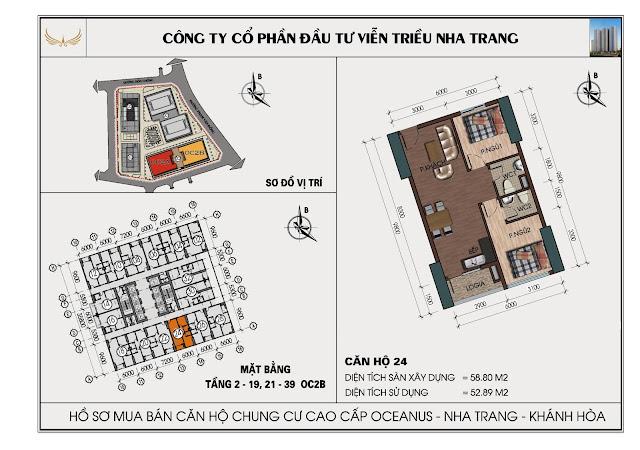 Sơ đồ căn hộ số 24 tòa OC2BViễn Triều Nha Trang