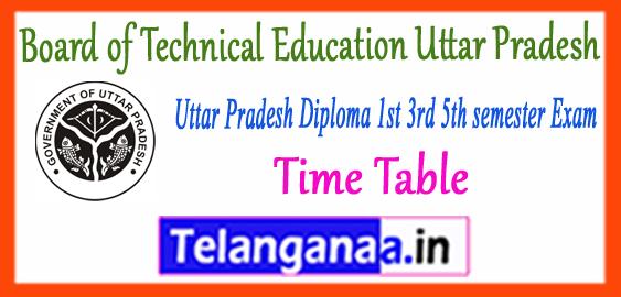 BTEUP Board of Technical Education Uttar Pradesh Diploma Odd 1st 3rd 5th Semester Time Table 2017