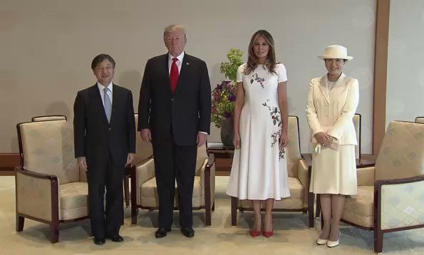 Crown Prince Akishino and Crown Princess Kiko. First Lady Melania Trump wore Carolina Herrera floral embroidered dress