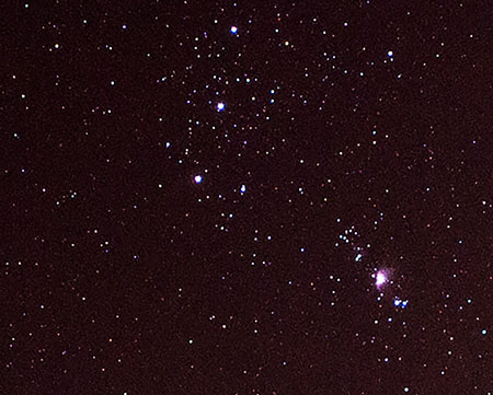 Three stars of Orion's belt and Orion Nebula, 120 seconds, 18mm DSLR (Source: Palmia Observatory)