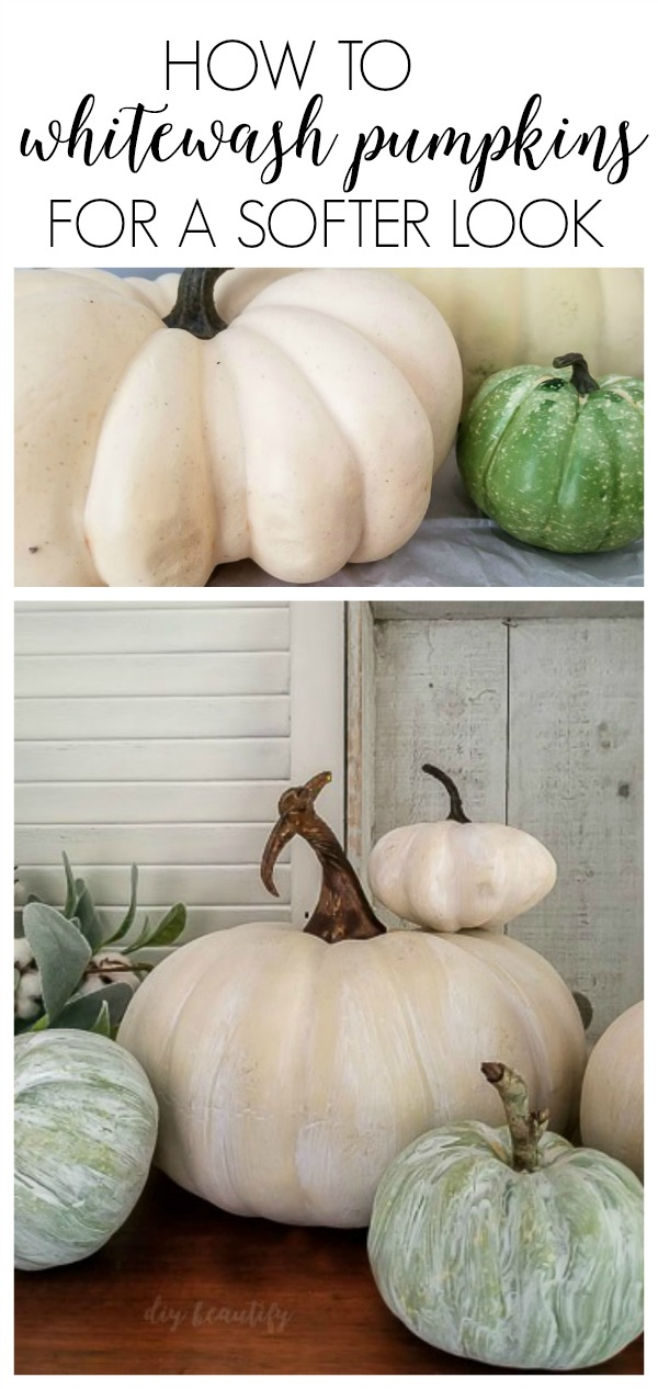 how to whitewash pumpkins for neutral and farmhouse decor