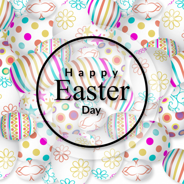 Happy Easter card with pattern background Free Vector