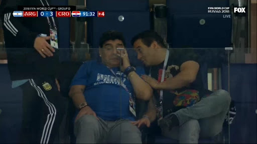 Photo Of Maradona Crying After Argentina Lost 3-0 To Croatia