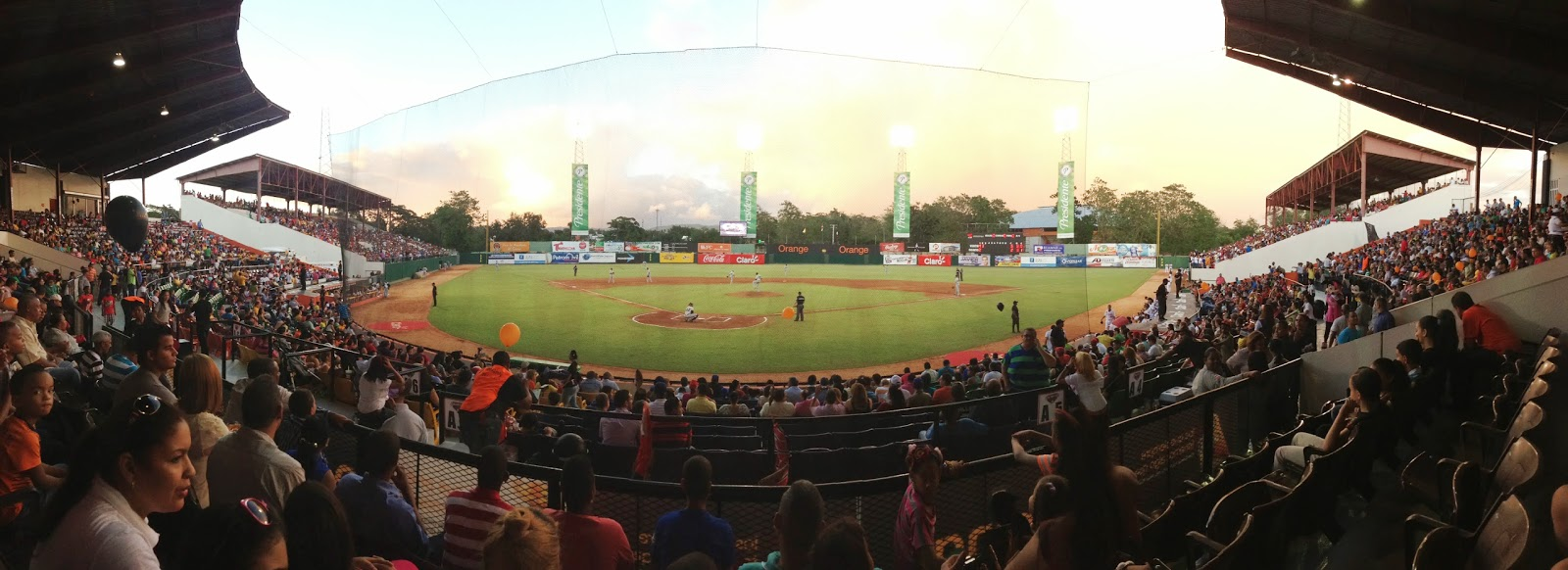 Sun sets at Estadio Julian Javier in San Francisco de Macoris, Dominican Republic