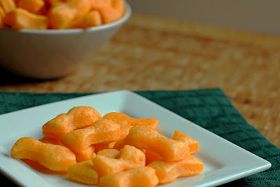 Homemade Goldfish Crackers on a plate