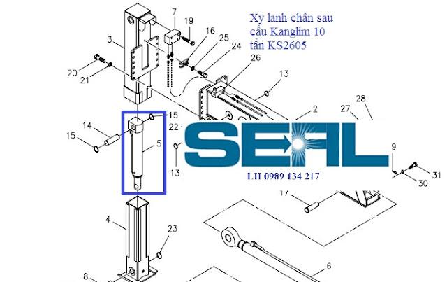 Xy lanh nâng hạ chân sau lắp cho cẩu Kanglim 10 tấn  KS2605-H0402502