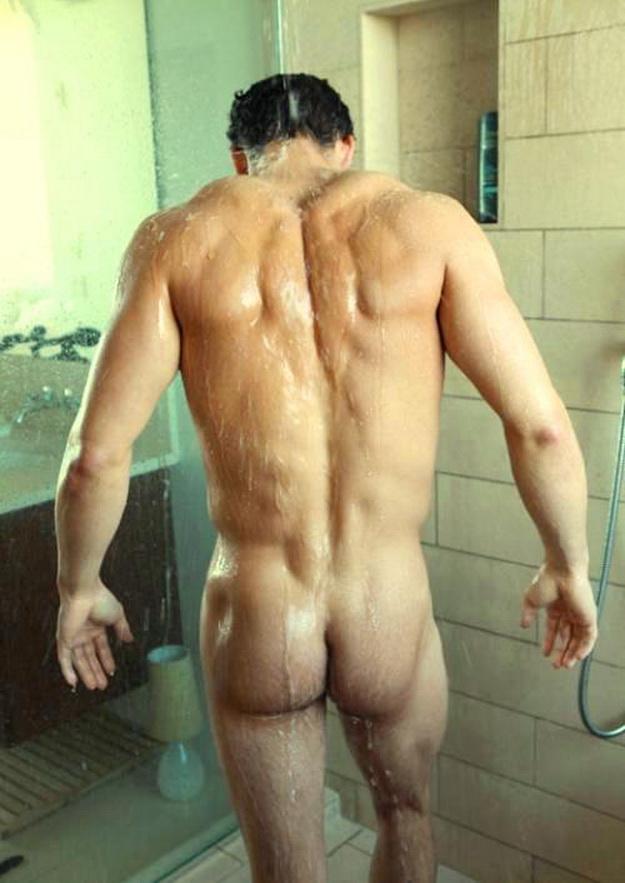 Men naked in shower