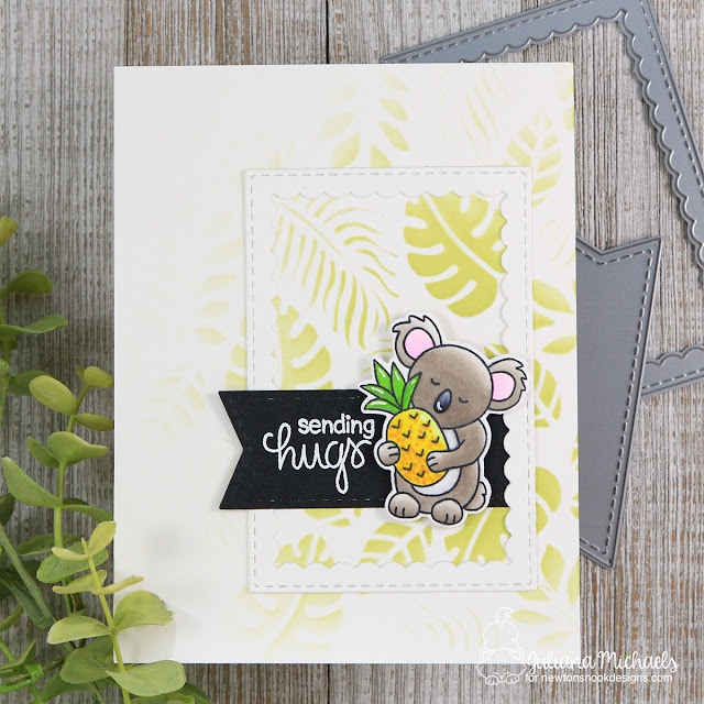 Sending Hugs Card by Juliana Michaels featuring Newton's Nook Designs Pina Koala Stamp Set and Tropical Leaves Stencil
