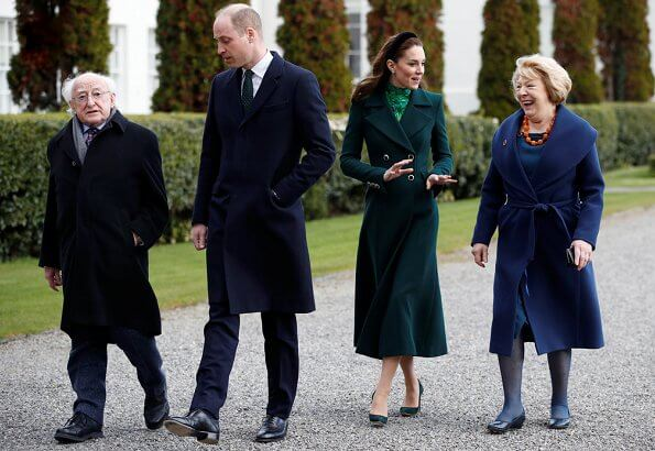 Kate Middleton wore a new silk peplum dress by Alessandra Rich, and Catherine Walker coat. Michael Higgins and Sabina Coyne