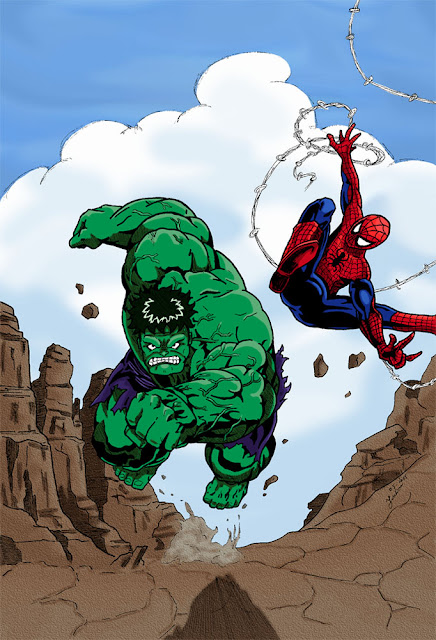 Colorisation Hulk et Spiderman
