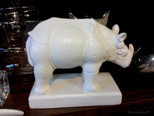 white ceramic rhinocerous